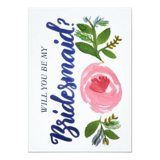 私の新婦付添人ですか。 花および青いカード 12.7 X 17.8 インビテーションカード