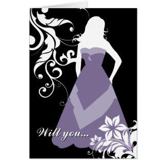 私の新婦付添人ですか。 : 開花したシルエット: グリーティングカード