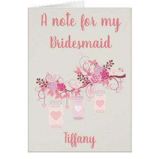 私の新婦付添人のためのノート カード