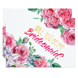 私の新婦付添人のピンクの花柄の招待状です カード