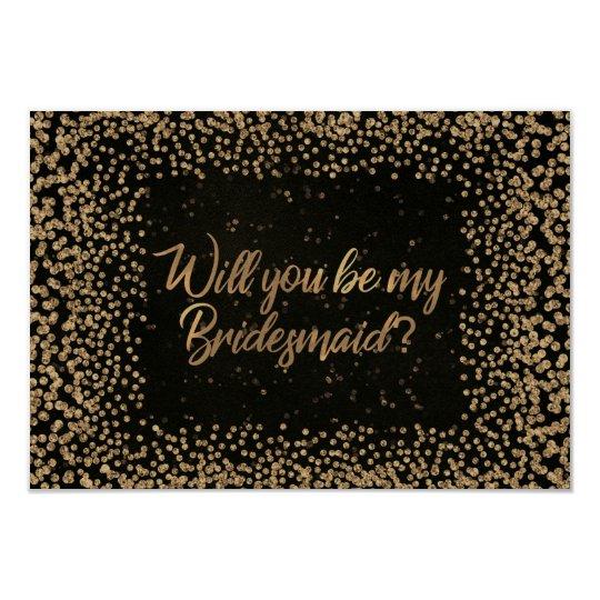 私の新婦付添人のブラウンVIPのグリッターの金ゴールドです カード