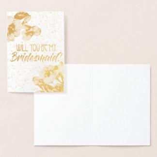私の新婦付添人の花ホイルの招待状です 箔カード