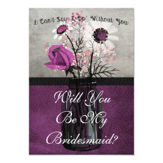 私の新婦付添人紫色の名前入りなカードです 12.7 X 17.8 インビテーションカード
