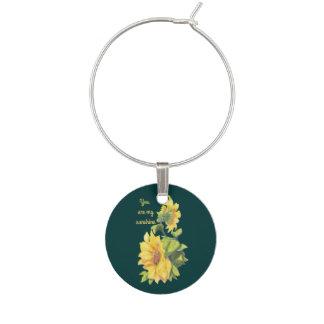 私の日光のヒマワリの花の引用文Watercoです ワインチャーム