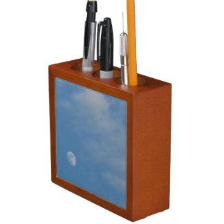 私の昼間の月-マホガニーの木製のオーガナイザー ペンスタンド