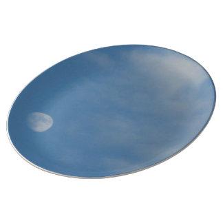 私の昼間の月-装飾的な磁器皿 磁器プレート