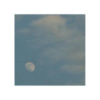 私の昼間の月- Woodsnapの環境に優しいキャンバス ウッドウォールアート