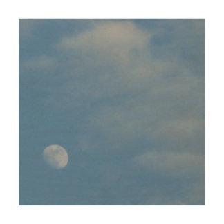 私の昼間の月- WooSsnapの環境に優しいキャンバス ウッドウォールアート