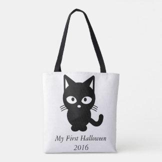 私の最初ハロウィン2016かわいい猫の子猫のカボチャバッグ トートバッグ