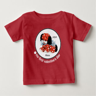 私の最初バレンタインデー。 ベビーのギフトのボディスーツ ベビーTシャツ
