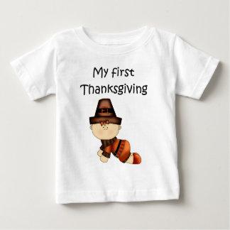 私の最初感謝祭の女の子#1の*T-shirt* ベビーTシャツ