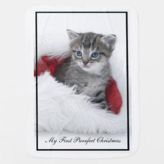 私の最初Purrfectのクリスマスのベビーブランケット ベビー ブランケット