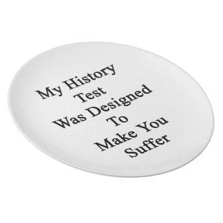 私の歴史テストは苦しませます設計されていました プレート