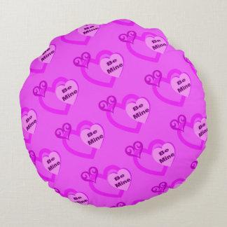私の物がショッキングピンクのバレンタインデーの枕あって下さい ラウンドクッション