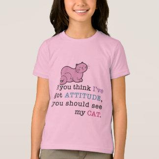 私の猫の態度のおもしろいな猫 Tシャツ