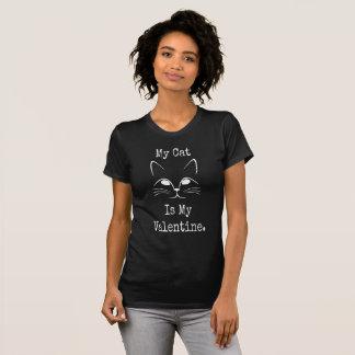 私の猫は私のバレンタイン-バレンタインの黒いTシャツです Tシャツ