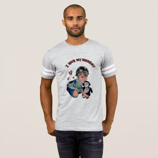 私の猿のフットボールティーを愛して下さい Tシャツ
