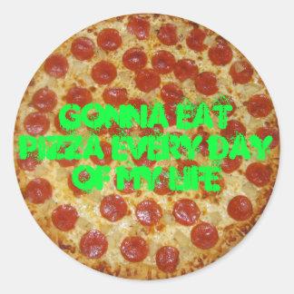 私の生命ステッカーピザのピザ毎日を食べることを行くこと ラウンドシール
