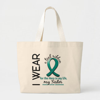 私の生命姉妹4の卵巣癌の英雄 ラージトートバッグ