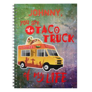 私の生命絞り染めの背景のタコスのトラック ノートブック