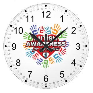 私の甥のための自閉症の認識度 ラージ壁時計