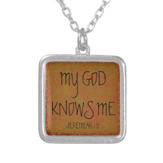 私の神は私を聖書の詩知っています シルバープレートネックレス