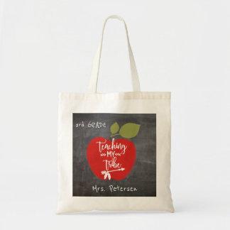 私の種族に|を教えます赤いりんごの黒板の先生 トートバッグ