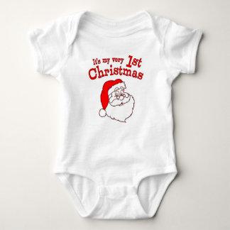 私の第1クリスマスサンタ ベビーボディスーツ