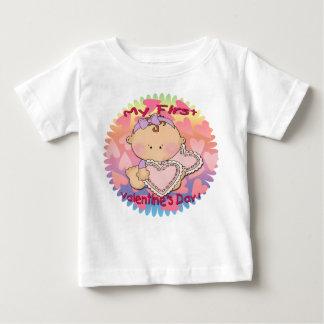 私の第1バレンタインデー(女の子)の幼児Tシャツ ベビーTシャツ