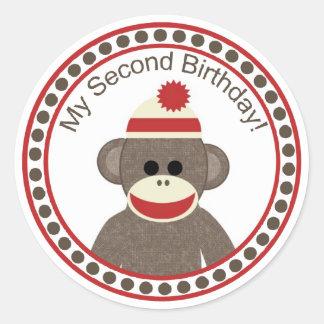私の第2誕生日のソックス猿のステッカー ラウンドシール
