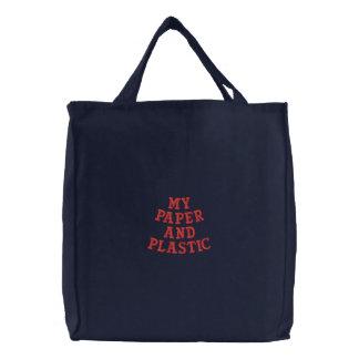 私の紙およびプラスチック 刺繍入りトートバッグ