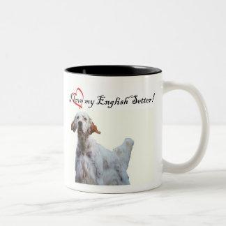 私の英国セッターのマグを愛して下さい ツートーンマグカップ