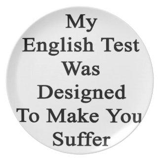 私の英国テストは苦しませます設計されていました プレート