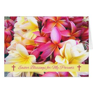 私の親のためのイースター恵み、プルメリアの花 グリーティングカード