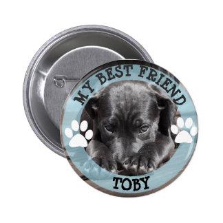 私の親友、Pawprints犬の写真ボタン 5.7cm 丸型バッジ