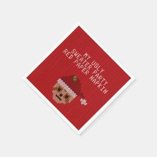 私の醜いクリスマスのセーターのパーティーの赤い紙ナプキン スタンダードカクテルナプキン