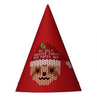 私の醜いクリスマスのセーターのパーティーの赤の紙の帽子 パーティーハット