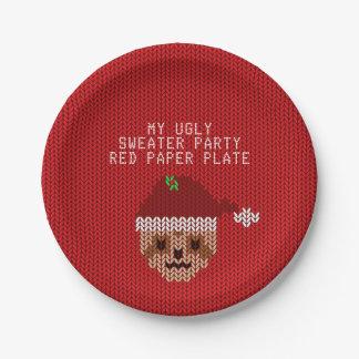 私の醜いセーターのパーティーの赤い紙皿 ペーパープレート