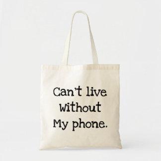 私の電話なしに住むことができません トートバッグ