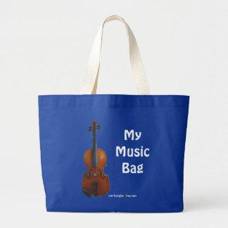 私の音楽バッグ-青(カスタマイズ) ラージトートバッグ