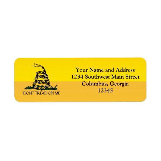 私の黄色いガズデンの旗の少尉で踏まないで下さい 返信用宛名ラベル