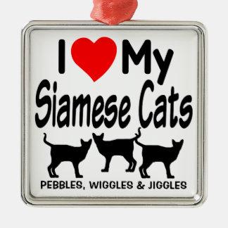私の3匹のシャム猫を愛して下さい メタルオーナメント