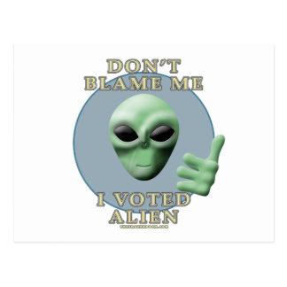 私の、私投票しましたエイリアンを責任にしないで下さい ポストカード