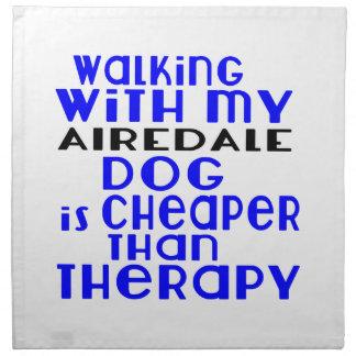 私のAIREDALE犬のデザインと歩くこと ナプキンクロス
