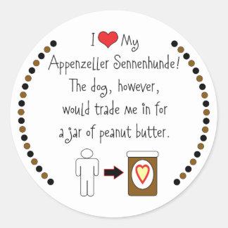 私のAppenzeller Sennenhundeはピーナッツバターを愛します ラウンドシール