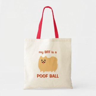 私のBFFはホモの球-おもしろいなポメラニア犬のデザインです トートバッグ