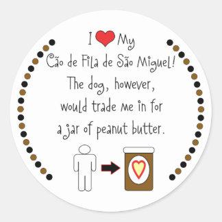 私のCaoo de Fila de Sãoミゲルはピーナッツバターを愛します ラウンドシール