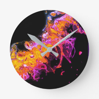 """""""私のLavalamp""""の抽象美術の時計のBubblegum ラウンド壁時計"""