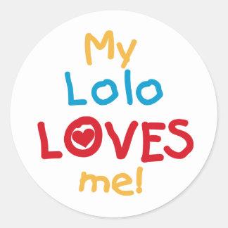 私のLoloは私をTシャツおよびギフト愛します ラウンドシール