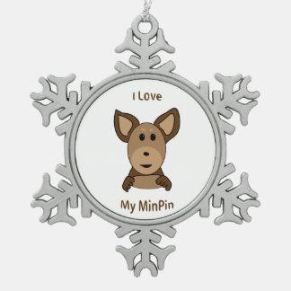 私のMinPinのソックス猿の顔を愛して下さい スノーフレークピューターオーナメント